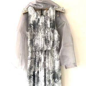 Elie Tahari Silver Silk Party Dress Beaded Hem